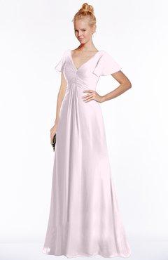 ColsBM Ellen Blush Modern A-line V-neck Short Sleeve Zip up Floor Length Bridesmaid Dresses