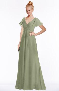 ColsBM Ellen Bog Modern A-line V-neck Short Sleeve Zip up Floor Length Bridesmaid Dresses