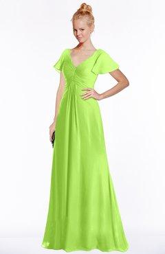 ColsBM Ellen Bright Green Modern A-line V-neck Short Sleeve Zip up Floor Length Bridesmaid Dresses