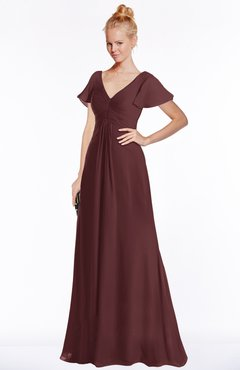 ColsBM Ellen Bombay Brown Modern A-line V-neck Short Sleeve Zip up Floor Length Bridesmaid Dresses
