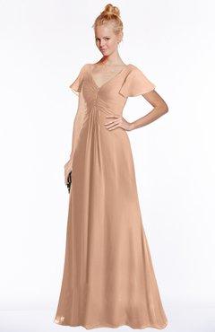 ColsBM Ellen Burnt Orange Modern A-line V-neck Short Sleeve Zip up Floor Length Bridesmaid Dresses