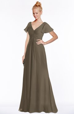 ColsBM Ellen Carafe Brown Modern A-line V-neck Short Sleeve Zip up Floor Length Bridesmaid Dresses