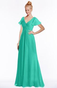 ColsBM Ellen Ceramic Modern A-line V-neck Short Sleeve Zip up Floor Length Bridesmaid Dresses