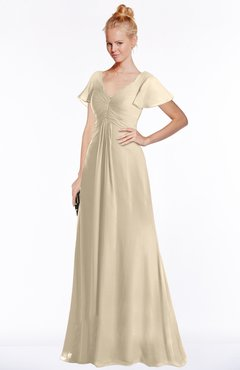ColsBM Ellen Champagne Modern A-line V-neck Short Sleeve Zip up Floor Length Bridesmaid Dresses