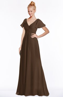 ColsBM Ellen Chocolate Brown Modern A-line V-neck Short Sleeve Zip up Floor Length Bridesmaid Dresses