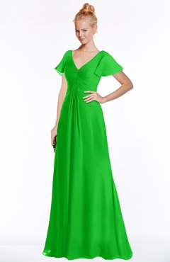ColsBM Ellen Classic Green Modern A-line V-neck Short Sleeve Zip up Floor Length Bridesmaid Dresses