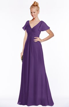 ColsBM Ellen Dark Purple Modern A-line V-neck Short Sleeve Zip up Floor Length Bridesmaid Dresses