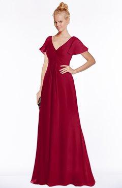 ColsBM Ellen Dark Red Modern A-line V-neck Short Sleeve Zip up Floor Length Bridesmaid Dresses