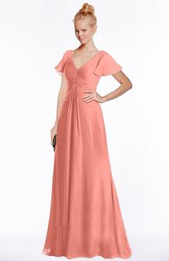 ColsBM Ellen Desert Flower Modern A-line V-neck Short Sleeve Zip up Floor Length Bridesmaid Dresses