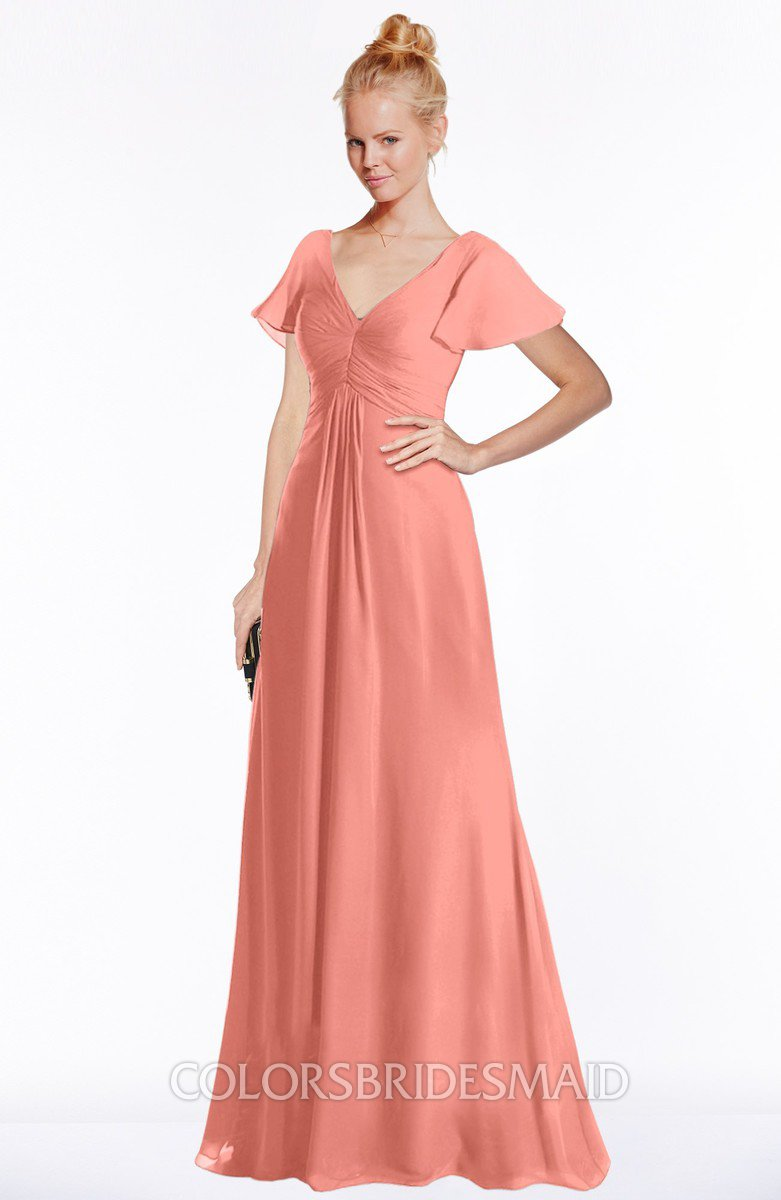 45961b90dd2 ColsBM Ellen. Desert Flower Modern A-line V-neck Short Sleeve Zip up Floor  Length Bridesmaid Dresses