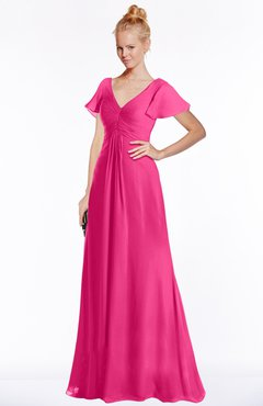 ColsBM Ellen Fandango Pink Modern A-line V-neck Short Sleeve Zip up Floor Length Bridesmaid Dresses