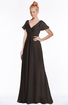 ColsBM Ellen Fudge Brown Modern A-line V-neck Short Sleeve Zip up Floor Length Bridesmaid Dresses