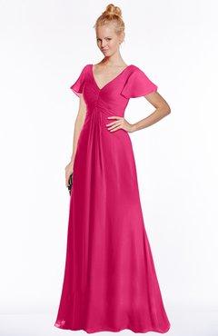 ColsBM Ellen Fuschia Modern A-line V-neck Short Sleeve Zip up Floor Length Bridesmaid Dresses