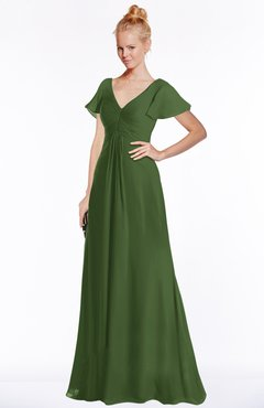 ColsBM Ellen Garden Green Modern A-line V-neck Short Sleeve Zip up Floor Length Bridesmaid Dresses