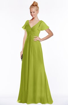 ColsBM Ellen Green Oasis Modern A-line V-neck Short Sleeve Zip up Floor Length Bridesmaid Dresses