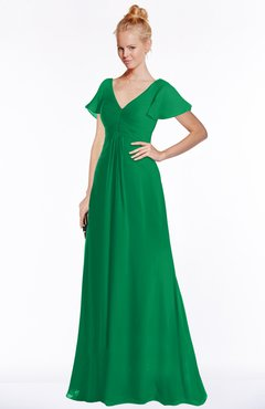 ColsBM Ellen Green Modern A-line V-neck Short Sleeve Zip up Floor Length Bridesmaid Dresses