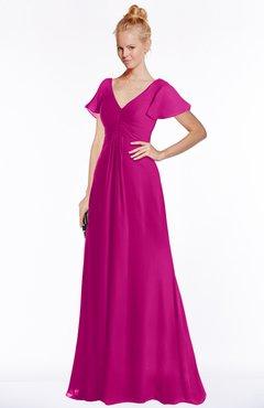 ColsBM Ellen Hot Pink Modern A-line V-neck Short Sleeve Zip up Floor Length Bridesmaid Dresses