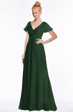 ColsBM Ellen Hunter Green Modern A-line V-neck Short Sleeve Zip up Floor Length Bridesmaid Dresses