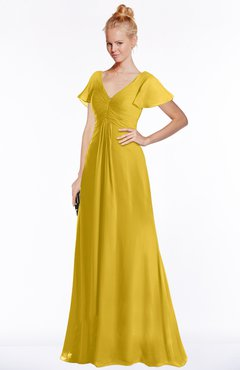 ColsBM Ellen Lemon Curry Modern A-line V-neck Short Sleeve Zip up Floor Length Bridesmaid Dresses