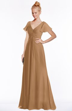 ColsBM Ellen Light Brown Modern A-line V-neck Short Sleeve Zip up Floor Length Bridesmaid Dresses
