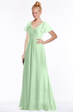 ColsBM Ellen Light Green Modern A-line V-neck Short Sleeve Zip up Floor Length Bridesmaid Dresses