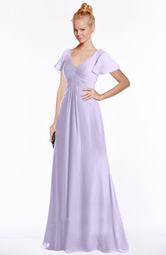ColsBM Ellen Light Purple Modern A-line V-neck Short Sleeve Zip up Floor Length Bridesmaid Dresses