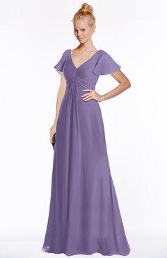 ColsBM Ellen Lilac Modern A-line V-neck Short Sleeve Zip up Floor Length Bridesmaid Dresses