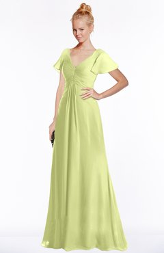 ColsBM Ellen Lime Green Modern A-line V-neck Short Sleeve Zip up Floor Length Bridesmaid Dresses