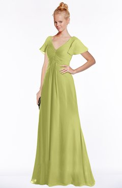 ColsBM Ellen Linden Green Modern A-line V-neck Short Sleeve Zip up Floor Length Bridesmaid Dresses