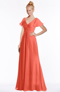 ColsBM Ellen Living Coral Modern A-line V-neck Short Sleeve Zip up Floor Length Bridesmaid Dresses