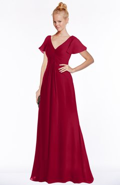 ColsBM Ellen Maroon Modern A-line V-neck Short Sleeve Zip up Floor Length Bridesmaid Dresses