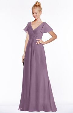 ColsBM Ellen Mauve Modern A-line V-neck Short Sleeve Zip up Floor Length Bridesmaid Dresses