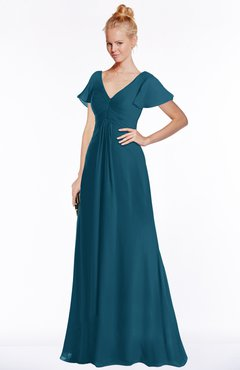 ColsBM Ellen Moroccan Blue Modern A-line V-neck Short Sleeve Zip up Floor Length Bridesmaid Dresses