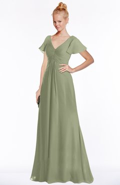 ColsBM Ellen Moss Green Modern A-line V-neck Short Sleeve Zip up Floor Length Bridesmaid Dresses
