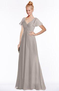 ColsBM Ellen Mushroom Modern A-line V-neck Short Sleeve Zip up Floor Length Bridesmaid Dresses