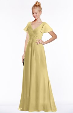 ColsBM Ellen New Wheat Modern A-line V-neck Short Sleeve Zip up Floor Length Bridesmaid Dresses
