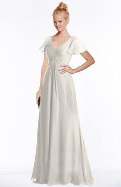 ColsBM Ellen Off White Modern A-line V-neck Short Sleeve Zip up Floor Length Bridesmaid Dresses