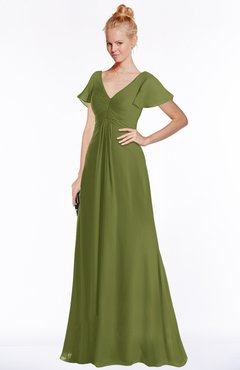 ColsBM Ellen Olive Green Modern A-line V-neck Short Sleeve Zip up Floor Length Bridesmaid Dresses