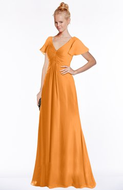 ColsBM Ellen Orange Modern A-line V-neck Short Sleeve Zip up Floor Length Bridesmaid Dresses