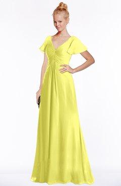 ColsBM Ellen Pale Yellow Modern A-line V-neck Short Sleeve Zip up Floor Length Bridesmaid Dresses