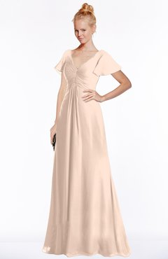 ColsBM Ellen Peach Puree Modern A-line V-neck Short Sleeve Zip up Floor Length Bridesmaid Dresses