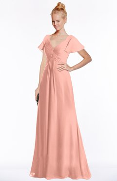 ColsBM Ellen Peach Modern A-line V-neck Short Sleeve Zip up Floor Length Bridesmaid Dresses