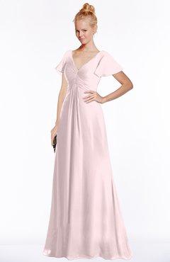 ColsBM Ellen Petal Pink Modern A-line V-neck Short Sleeve Zip up Floor Length Bridesmaid Dresses