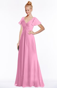 ColsBM Ellen Pink Modern A-line V-neck Short Sleeve Zip up Floor Length Bridesmaid Dresses