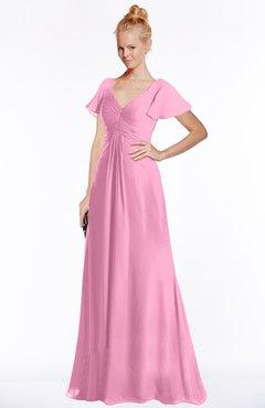 ColsBM Ellen Pink Modern A-line V-neck Short Sleeve Zip up Floor Length Bridesmaid Dresses