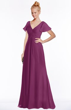 ColsBM Ellen Raspberry Modern A-line V-neck Short Sleeve Zip up Floor Length Bridesmaid Dresses
