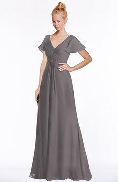 ColsBM Ellen Ridge Grey Modern A-line V-neck Short Sleeve Zip up Floor Length Bridesmaid Dresses
