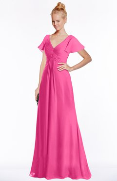 ColsBM Ellen Rose Pink Modern A-line V-neck Short Sleeve Zip up Floor Length Bridesmaid Dresses