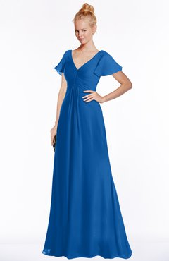 ColsBM Ellen Royal Blue Modern A-line V-neck Short Sleeve Zip up Floor Length Bridesmaid Dresses