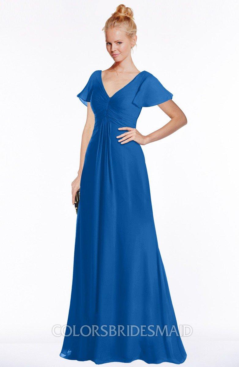Colsbm Ellen Royal Blue Modern A Line V Neck Short Sleeve Zip Up Floor